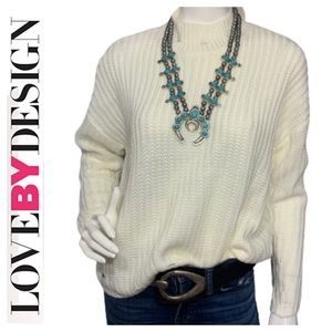 NWT Love By Design distressed cream sweater - M